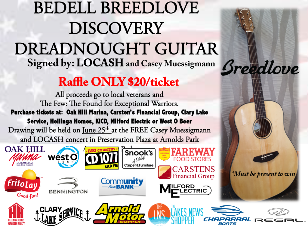 Raffle poster for Breedlove guitar raffle